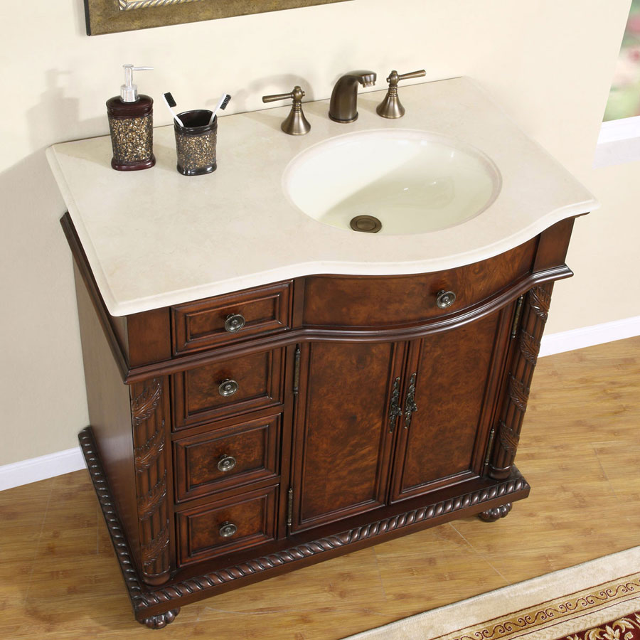 6213-CM-36-R - 36 Single Sink Vanity Cream Marfil Marble ...